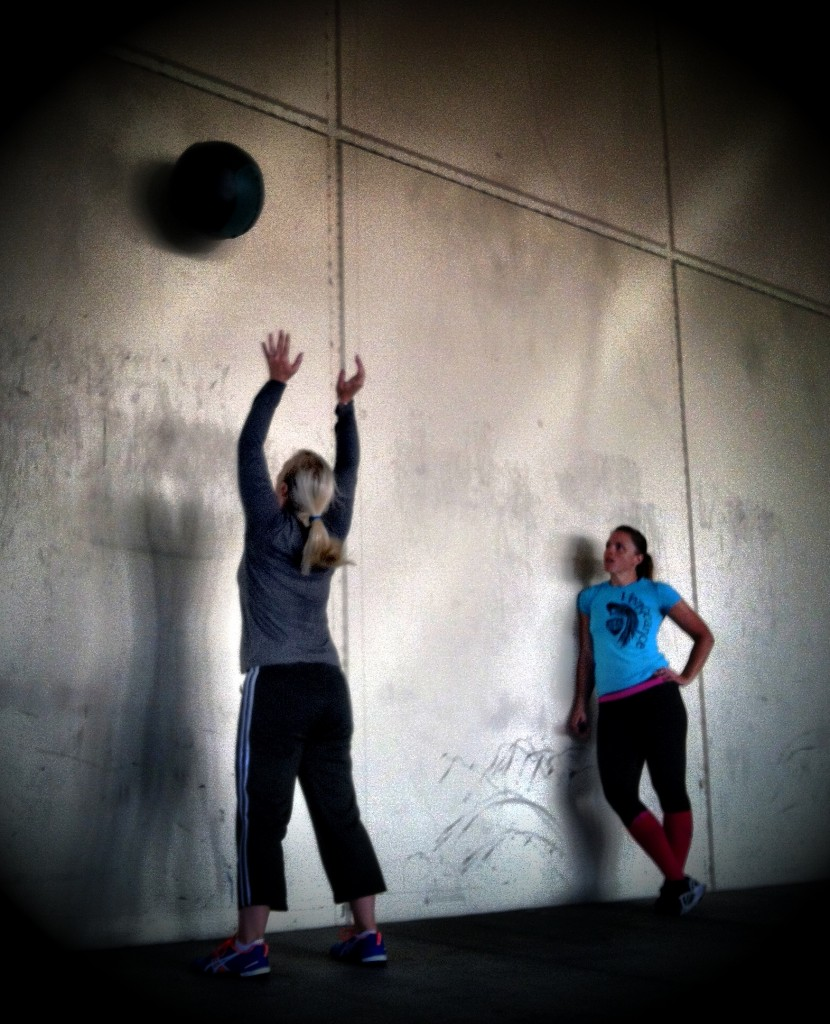 Shannon giving some motivation to friend finish up a WOD
