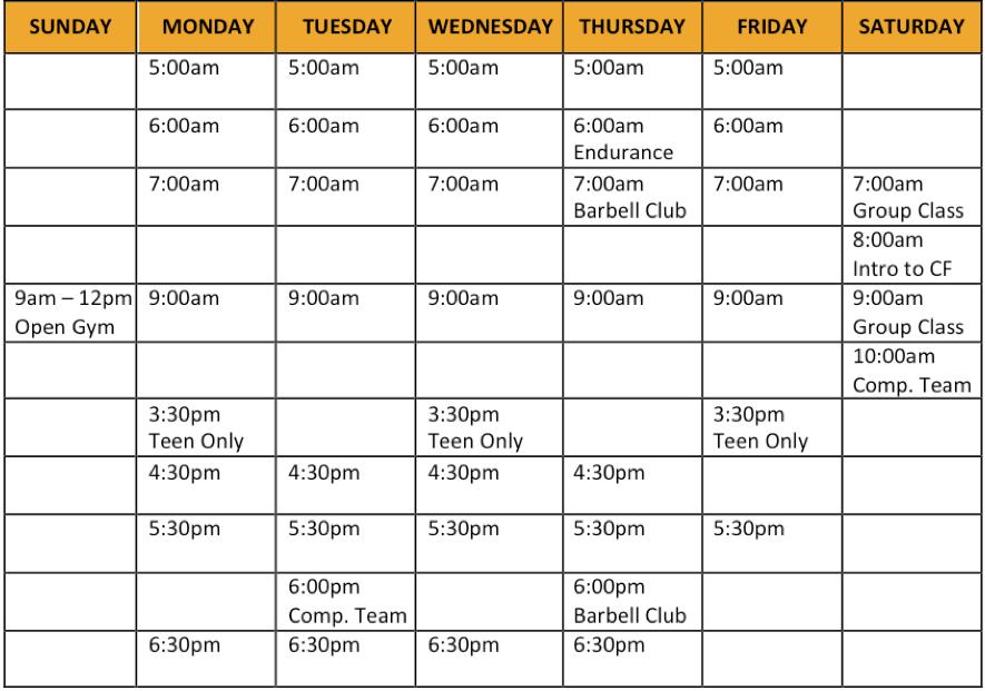 Class Schedule | Ruination CrossFit