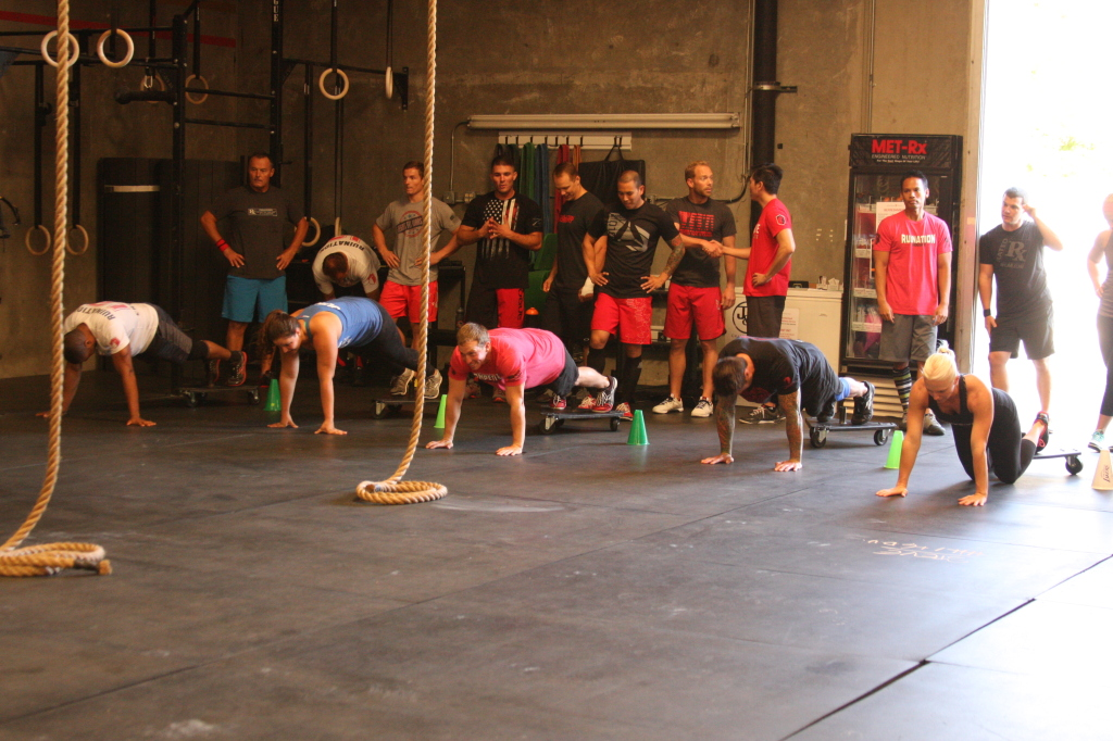 Plank races at the Saturday class