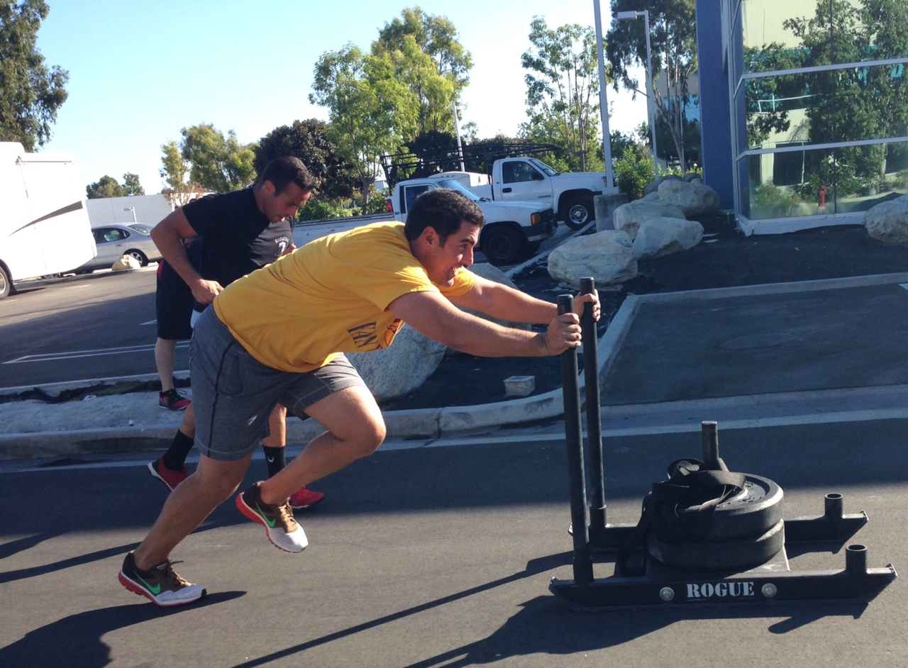 Brendan, Jared and Eric take down the 800 Meter sled push