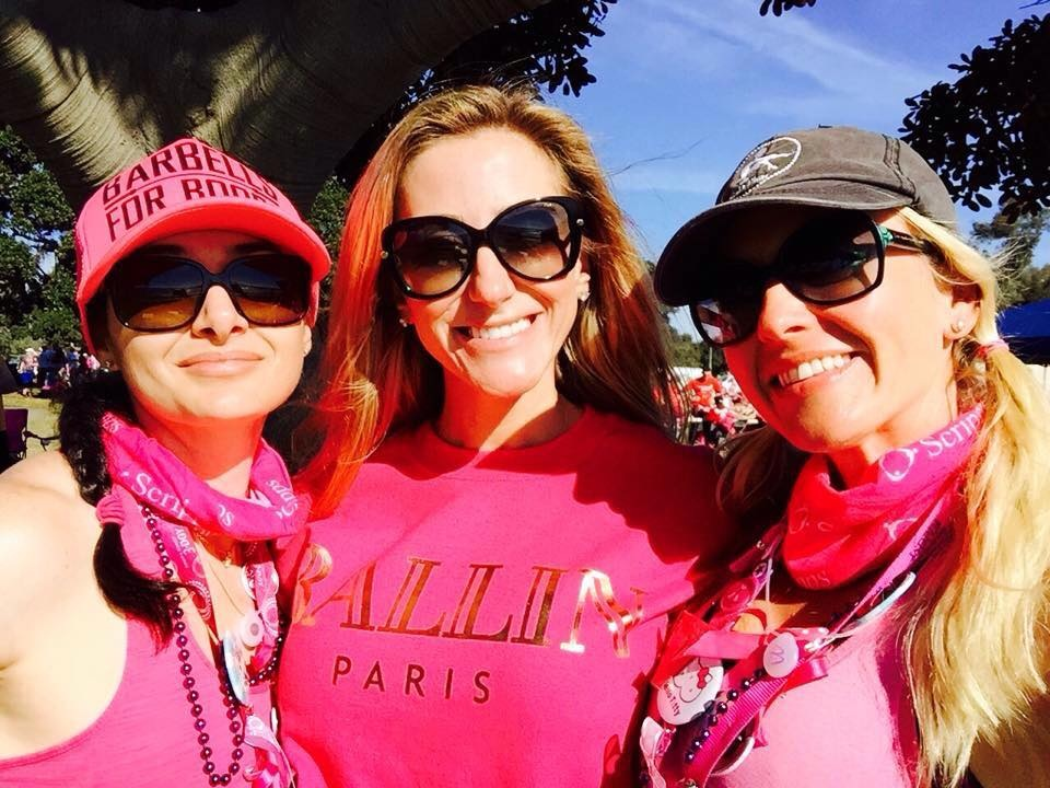 Angelina (left), at the 2014 Susan G. Komen breast cancer walk