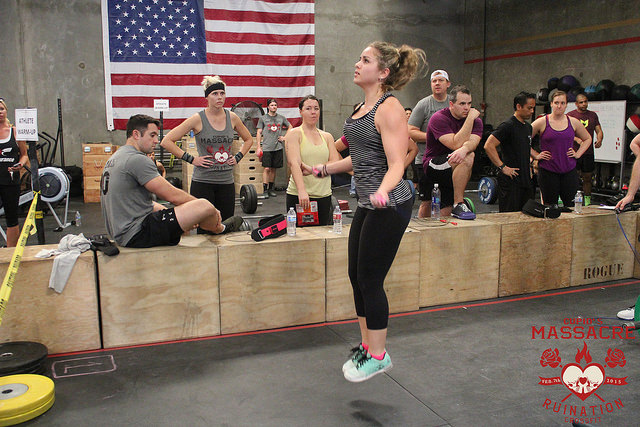 Taylor looking very relaxed during her set of double unders at this years Cupids Massacre
