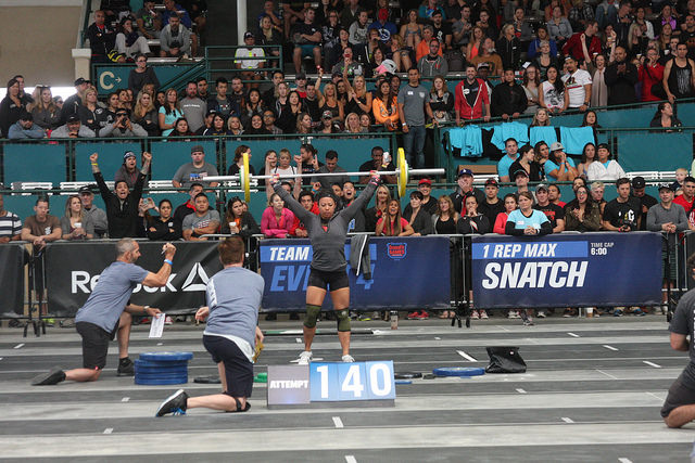 Courtney with a clutch lift in the final seconds of the snatch event this year at The Reebok Crossfit Games Regionals